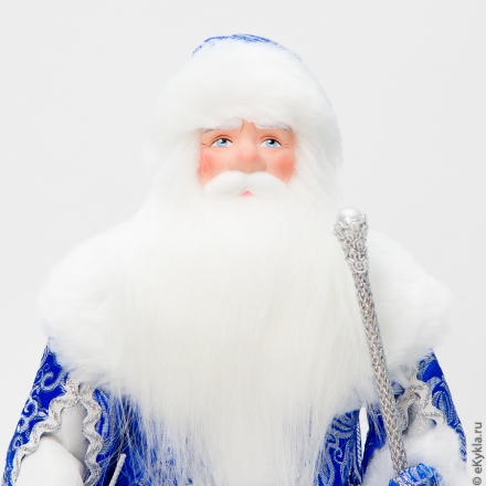 Doll Santa Claus from Veliky Ustyug in a blue fur coat silver 33cm