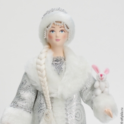 Doll Snow Maiden with a bunny 30cm