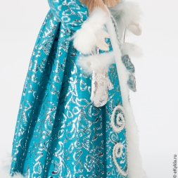 Doll Snow Maiden with mittens in a blue outfit 30cm.