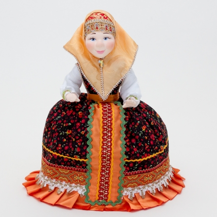 Doll-warmer on the teapot in a red scarf 30cm