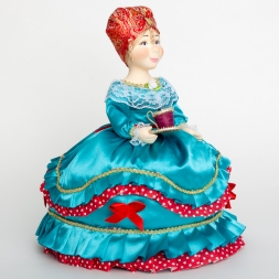 Doll-warmer on a teapot with a cup, turquoise 30 cm