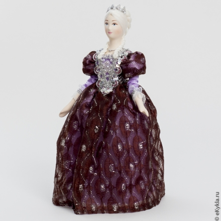 Doll Secular lady in a lilac dress 27cm