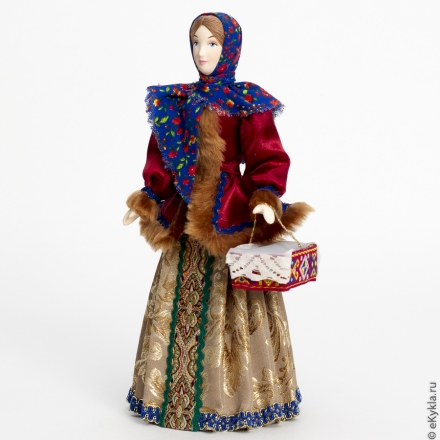 Doll girl with a basket, 27cm.
