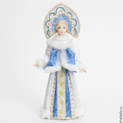 Doll Snow Maiden-blonde in a kokoshnik in gold 31cm